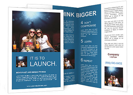 two girls watching a movie at the cinema brochure template