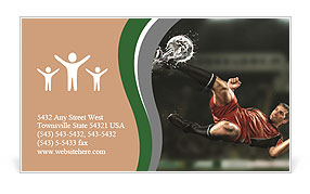 Soccer player hits the ball in the fall Business Card Template