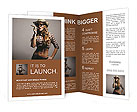Sexy girl cowboy smoking a cigar Brochure Templates