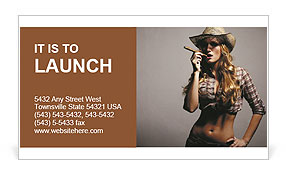 Sexy girl cowboy smoking a cigar Business Card Template