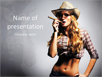 Sexy girl cowboy smoking a cigar PowerPoint Template
