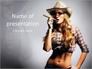 Sexy girl cowboy smoking a cigar PowerPoint Templates