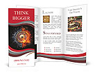 Symbolic roulette at the casino as excitement and calm water and fire Brochure Template