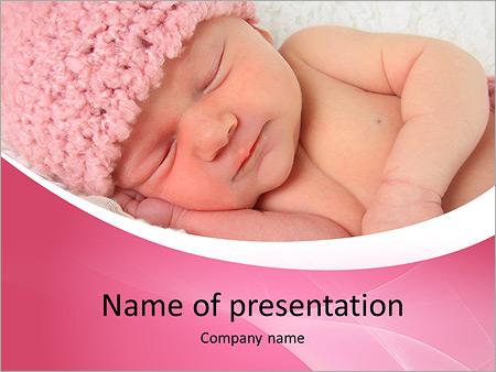 Newborn powerpoint template smiletemplates newborn baby girl sleeping in her bed powerpoint template toneelgroepblik Image collections