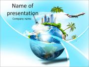 Land with the tourism map PowerPoint Templates