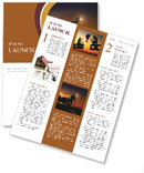 Employees working at sunset Newsletter Template