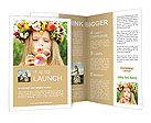 Girl with a wreath of flowers blowing soap bubbles Brochure Templates