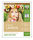 Girl with a wreath of flowers blowing soap bubbles Poster Template