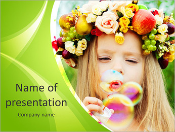 Girl with a wreath of flowers blowing soap bubbles PowerPoint Template