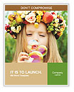 Girl with a wreath of flowers blowing soap bubbles Word Templates