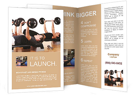 Men Are Engaged With The Rod In The Gym Brochure Template  Design