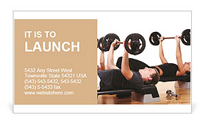 Men are engaged with the rod in the gym Business Card Templates