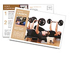 Men are engaged with the rod in the gym Postcard Templates