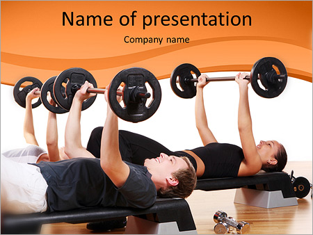men are engaged with the rod in the gym powerpoint template, Modern powerpoint