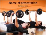 Men are engaged with the rod in the gym PowerPoint Templates