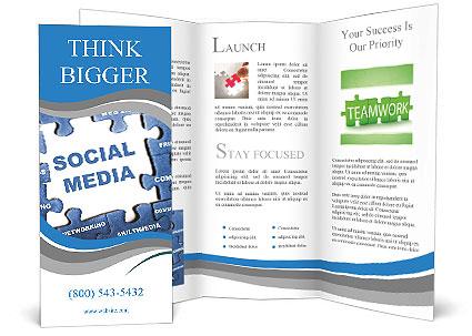 Social Media Blue Puzzle Brochure Template Design Id 0000010965
