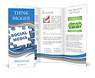 Social media blue puzzle Brochure Templates