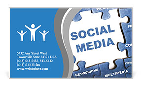 Social media blue puzzle Business Card Template
