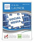 Social media blue puzzle Flyer Templates