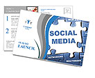 Social media blue puzzle Postcard Template