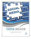 Social media blue puzzle Poster Templates