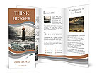 Storm on the sea and the lighthouse on the main terms Brochure Templates