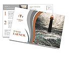 Storm on the sea and the lighthouse on the main terms Postcard Template