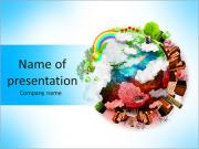 The green and red part of the planet PowerPoint Templates