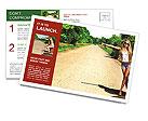 Beautiful girl hitchhiking Postcard Template