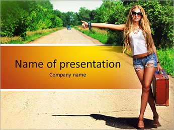 Beautiful girl hitchhiking PowerPoint Template