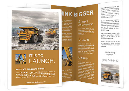 construction brochure templates - construction machinery in action brochure template