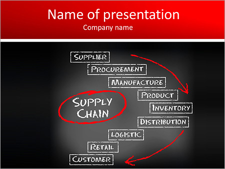 conceptual supply chain flow from supplier to customer on black, Modern powerpoint