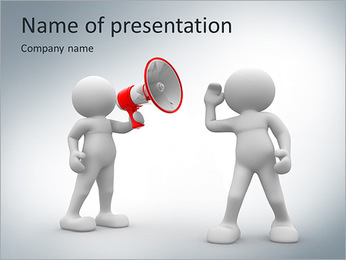 3d people listen to the megaphone PowerPoint Template