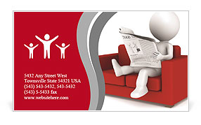 3D human sitting on a red couch Business Card Templates