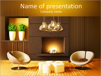 Modern design with fireplace PowerPoint Template