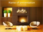 Modern design with fireplace PowerPoint Templates