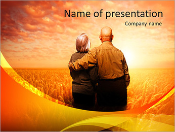 Elderly couple admiring the sunset PowerPoint Template