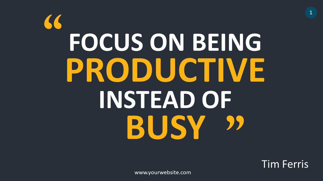 Quote About Productivity PowerPoint Infographics