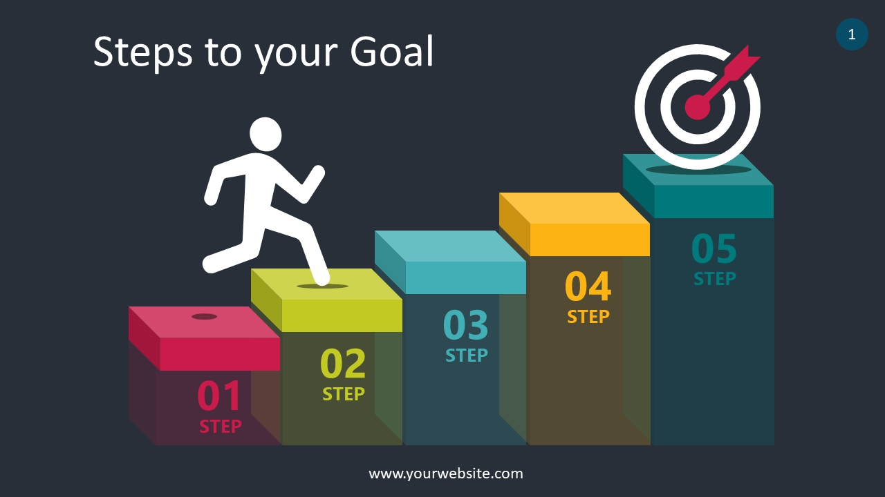 Steps To Your Goal PowerPoint Infographics