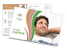 Happy man resting on the couch Postcard Templates