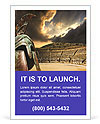 Ruined ancient Greek amphitheater and helmet Ad Template