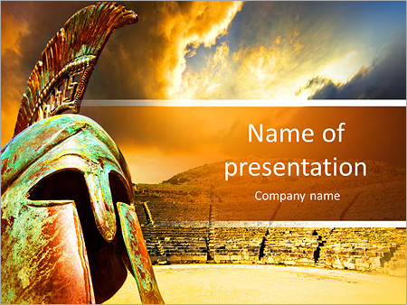 Ruined Ancient Greek Amphitheater And Helmet Powerpoint Template