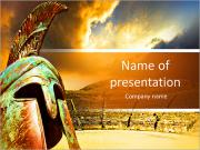 Ruined ancient Greek amphitheater and helmet PowerPoint Templates