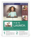 Little girl with a keyboard delight Flyer Template