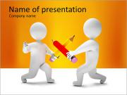 Two Men Fighting with Pencils PowerPoint Templates