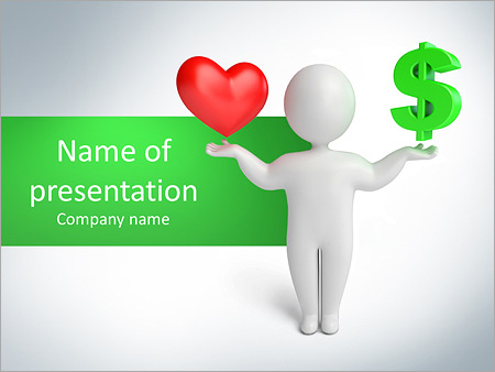 Choose Between Love And Money Powerpoint Template Backgrounds