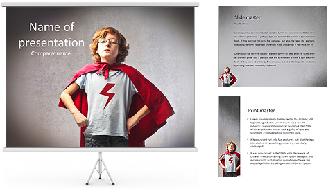 Boy in Superhero Costume PowerPoint Template & Backgrounds ID ...