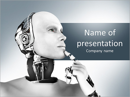 futuristic robot powerpoint template & backgrounds id 0000011076, Presentation templates