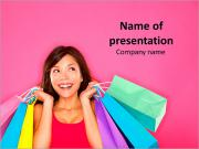 Shopper on Pink Background PowerPoint Templates
