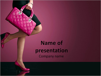 Woman with Pink Purse PowerPoint Template